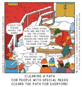 Cartoon image of man shoveling snow off stairs while children wait near ramp. Children ask him to shovel ramp so EVERYONE can have access.